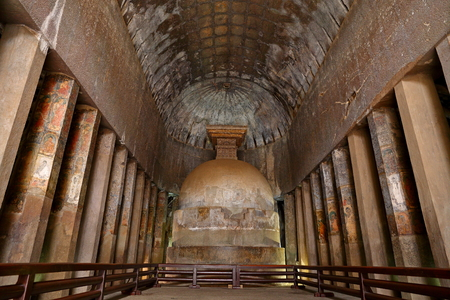 Ajanta caves, India. The Ajanta Caves in Maharashtra state are Buddhist caves monuments