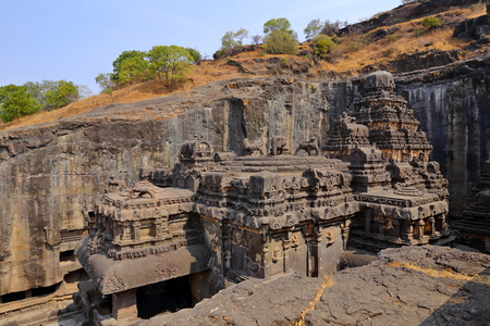 Temple of Ellora caves, the rock-cut temples, AURANGABAD, MAHARASHTRA in central India