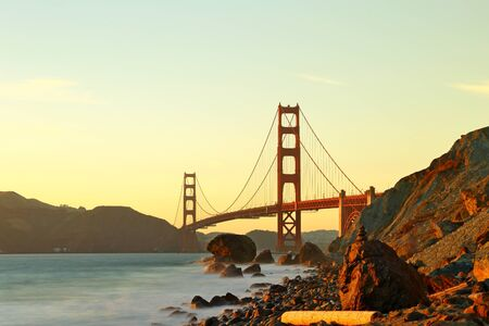 Golden Gate Bridge in San Francisco California after sunset.