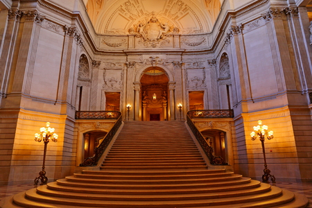Interior of San Francisco City Hall, one of travel attractions in San Francisco, United States