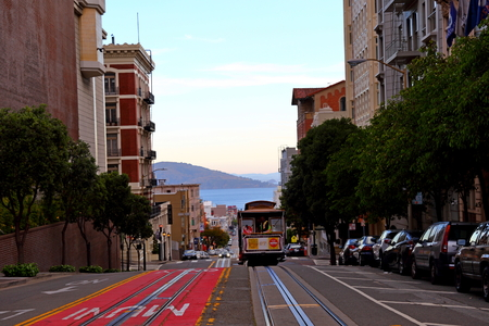 San Francisco Cable Cars on the street in SAN FRANCISCO  CALIFORNIA, USA Editorial