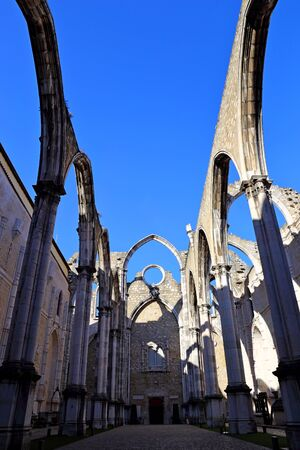 The ruins of Carmo Convent in Lisbon Portugal (Convent of Our Lady of Mount Carmel)