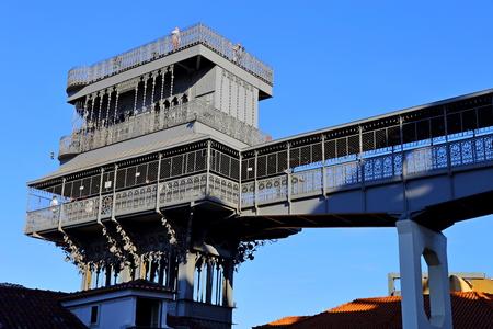 The famous Iron Santa Justa lift in Lisbon Portugal. (Elevador de Santa Justa)
