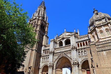 Santa Iglesia Catedral Primada de Toledo, Catedral Primada Santa Maria de Toledo, Spain built in Mudejar gothic style. Stock fotó