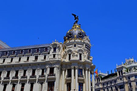 cityscape at Calle de Alcala and Gran Via, main shopping street in Madrid, Spain, Europe.