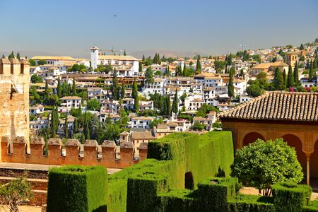 view of historic section of Granada, Andalusia, Spain, viewed from hill of Alhambra