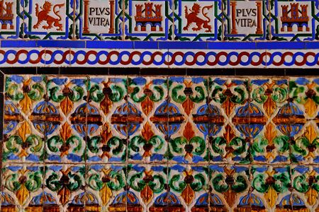 Detail of traditional tiles on facade in Seville Spain 版權商用圖片