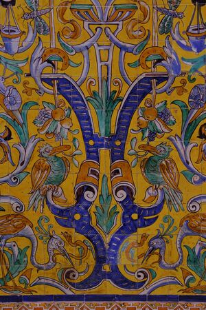 Detail of traditional tiles on facade in Seville Spain Stock Photo
