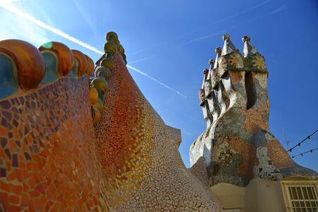 Casa Batllo designed by Antoni Gaudi located in the center of Barcelona in Catalonia region of Spain