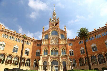 Hospital of the Holy Cross and Saint Paul de la Santa Creu i Sant Pau, Barcelona, Spain by Lluis Domenech i Montaner in barcelona 에디토리얼