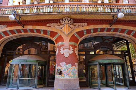 Palau de la Musica Catalana, modernist Concert Hall designed by the architect Lluis Domenech i Montaner in in Barcelona, Catalonia, Spain