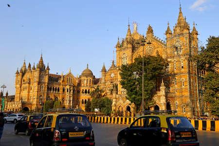 MUMBAI, INDIA - February 7, 2019: Chhatrapati Shivaji Maharaj Terminus formerly known as Victoria station, Mumbai, India.