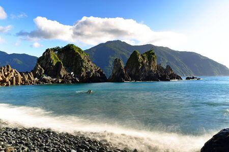 Beach near fenniaolin fishing harbor in Yilan county, Taiwan