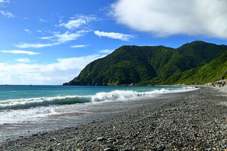 Dongao Bay with rocks on the beach in Yilan county, Taiwan