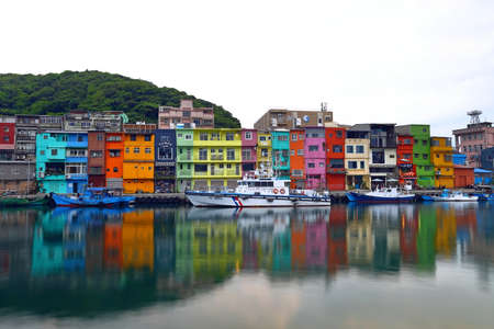 The colorful houses of Zhengbin Fishing Port, Taiwan version of Venice 免版税图像