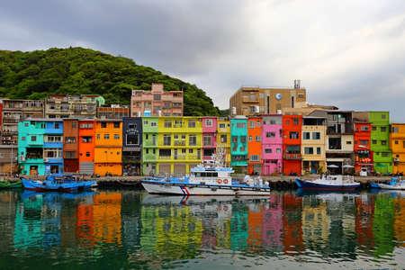 The colorful houses of Zhengbin Fishing Port, Taiwan version of Venice 新闻类图片
