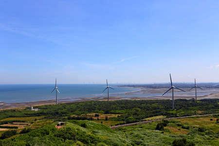 Coastal and Offshore Windmill farm near Miaoli County, Houlong Township Taiwan 免版税图像