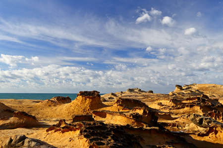 Natural rock formation at Yehliu Geopark, one of most famous wonders in Wanli, New Taipei City, Taiwan.