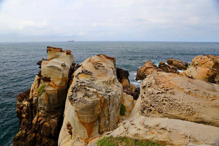 Coastal rock formations at Northeast Coast National Scenic Area, Taipei, Taiwan.