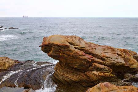 Coastal rock formations in Nanya, Northeast Coast National Scenic Area, Taipei Taiwan. 版權商用圖片