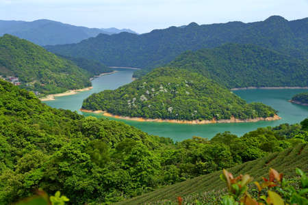 View from Catfish Head Observation Deck at Feitsui Reservoir in Shiding District, New Taipei, Taiwan.