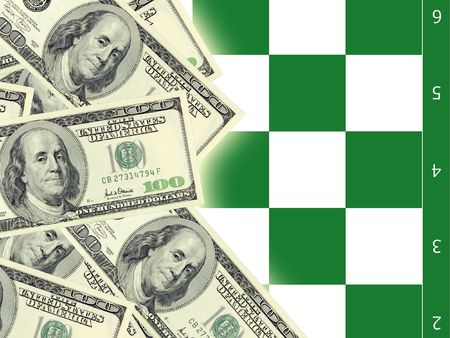 dollars and chess                 Stock Photo