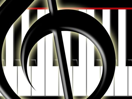 treble clef: Treble clef and keys of the piano