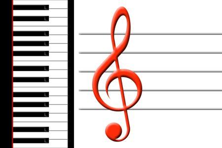 treble clef: piano and treble clef Stock Photo