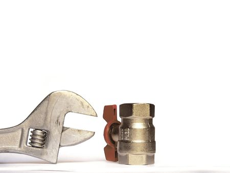 worm gear: adjustable spanner and valve Stock Photo