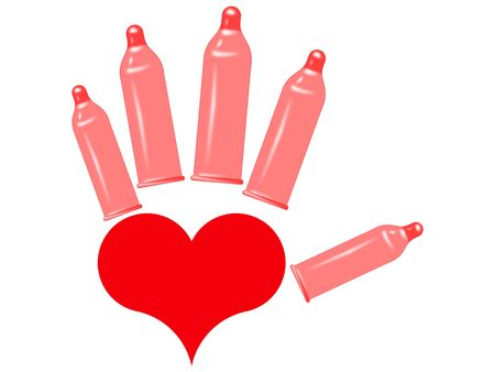 contraceptive: Symbol of heart and condoms on a white background