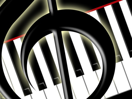 Fragment of a treble clef on a background of keys of the piano photo