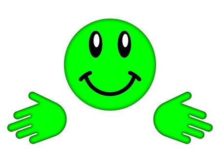 green smiley face: Green smiley face on a white background