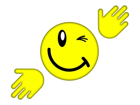 Yellow smiley face on a white background photo