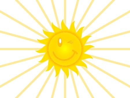 amabilidad: Símbolo del sol sobre un fondo blanco Foto de archivo