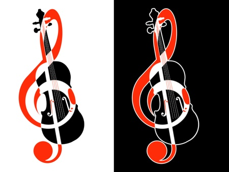 Treble clef and violin  photo