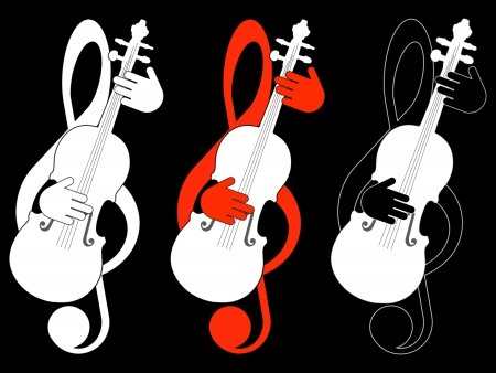 Treble clef and violin Stock Photo - 19167812