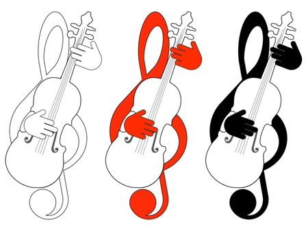 clefs: Treble clefs and violins on a white background