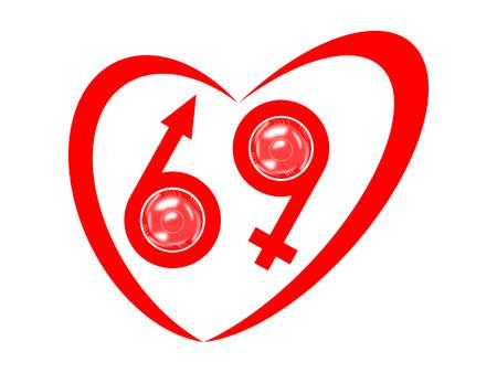 condoms: 69 - Symbols of the heart, man, woman and condoms