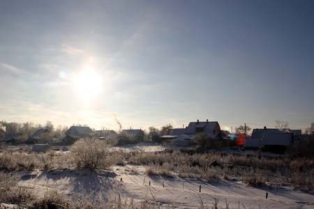 View of the village in winter sunny day