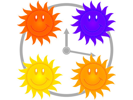 suns: Clock and four suns as symbols of the morning, day, evening and night