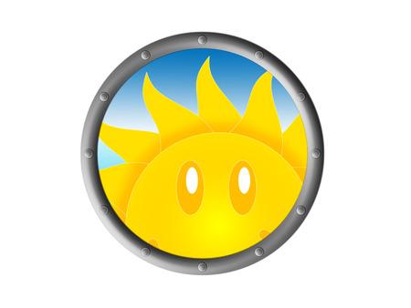 protuberance: The sun peeks through the porthole