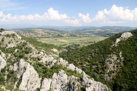 mountainous: View of the mountainous terrain in sunny day