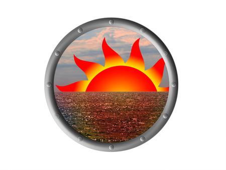 protuberance: Symbol of the sunset in the porthole Stock Photo