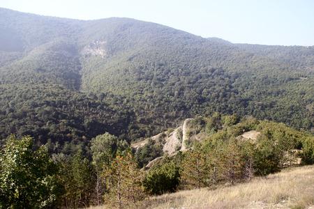 mountainous: View of the mountainous terrain in the morning
