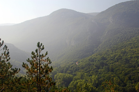 View of the mountainous terrain in the morning