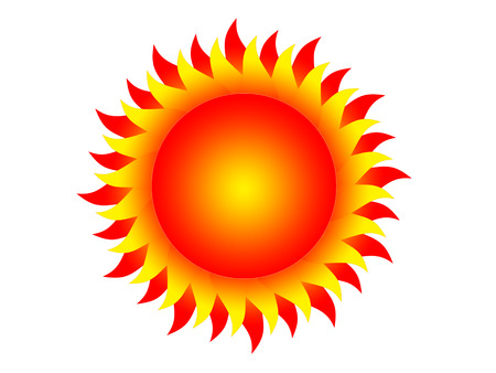 protuberance: Symbol of the sun on a white background