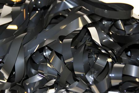 tangled: Pile of the tangled magnetic tape Stock Photo