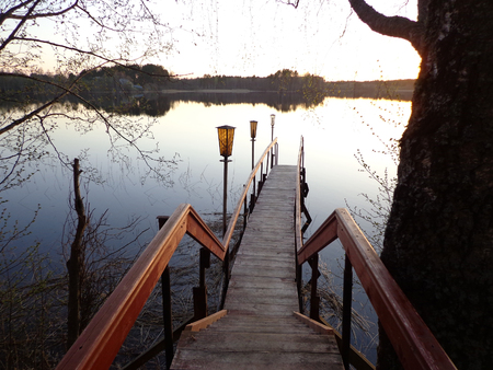 batten: footbridge Stock Photo