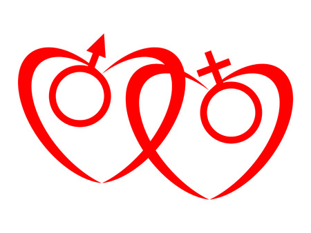 heart symbol: Symbol of the male heart and symbol of the female heart