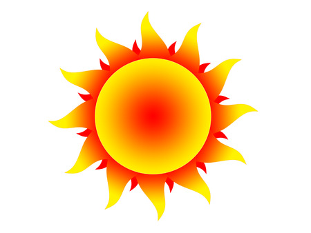 protuberance: Symbol of the yellow-red sun on a white background